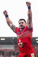 Picture by Alex Whitehead/SWpix.com - 19/03/2017 - Rugby League - Betfred Super League - Salford Red Devils v Castleford Tigers - AJ Bell Stadium, Salford, England - Salford's Justin Carney celebrates the win.