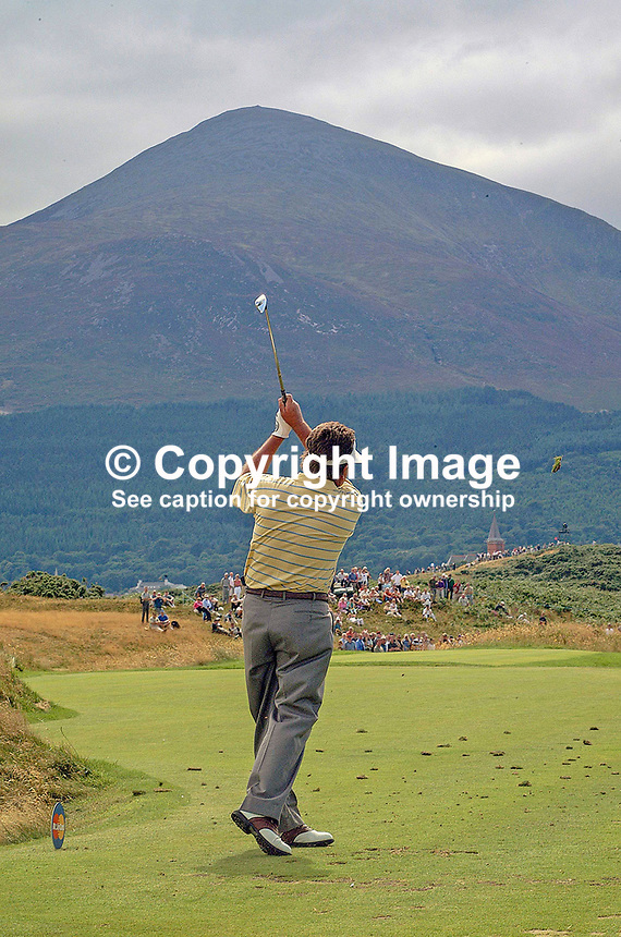 Ian Stanley, professional golfer, Australia, plays a shot with Slieve Donard, part of the Mountains of Mourne, N Ireland, UK, in the distance. Taken at British Seniors Open Championship at Royal County Down, Newcastle, N Ireland. Ref: 200107293050.<br /> <br /> Copyright Image from Victor Patterson, 54 Dorchester Park, Belfast, UK, BT9 6RJ<br /> <br /> t: +44 28 90661296<br /> m: +44 7802 353836<br /> vm: +44 20 88167153<br /> e1: victorpatterson@me.com<br /> e2: victorpatterson@gmail.com<br /> <br /> For my Terms and Conditions of Use go to www.victorpatterson.com