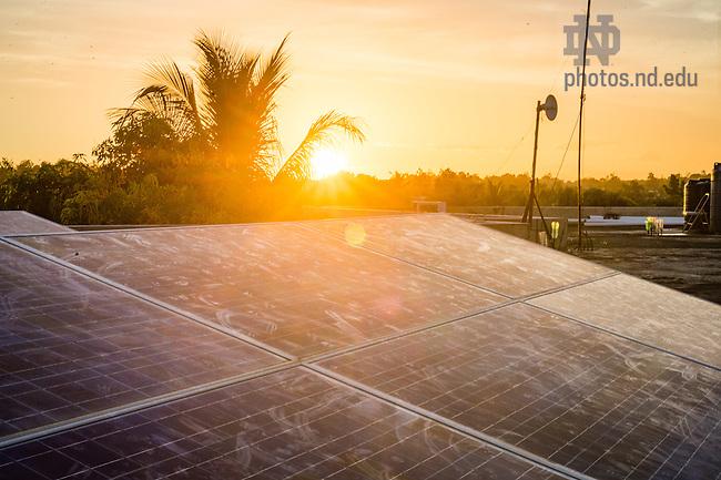 June 24, 2015; Solar panel on the roof of Residence Filariose, Leogane, Haiti. (Photo by Matt Cashore/University of Notre Dame)