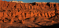 920950004 panoramic sunset view of the hoodoo formations in the high desert of goblin valley state park utah united states