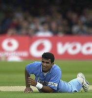 .29/06/2002.Sport - Cricket - .NatWest triangler Series England - Sri Lanka - India.England vs india 50 overs.  Lord's ground.England batting - Zaheer Khan...