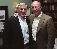 Former Green Bay Packers running back Jimmy Taylor with former Packers quarterback and coach Bart Starr at the Lombardi players reunion at Lombardi's Steakhouse in Appleton, Wisconsin in September of 2001.