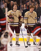 Patrick Wey (BC - 6), Michael Matheson (BC - 5) - The Boston College Eagles defeated the Northeastern University Huskies 6-3 on Monday, February 11, 2013, at TD Garden in Boston, Massachusetts.