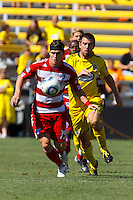 28 AUGUST 2010:  FC Dallas' Zach Loyd (19) and Jason Garey of the Columbus Crew (9) during MLS soccer game between FC Dallas vs Columbus Crew at Crew Stadium in Columbus, Ohio on August 28, 2010.