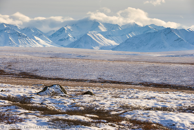 Snow covered Endicott mountains of the Brooks range, arctic, Alaska.