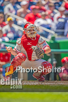 26 May 2013: Philadelphia Phillies catcher Humberto Quintero in action against the Washington Nationals at Nationals Park in Washington, DC. The Nationals defeated the Phillies 6-1, taking the rubber game of their 3-game weekend series. Mandatory Credit: Ed Wolfstein Photo *** RAW (NEF) Image File Available ***