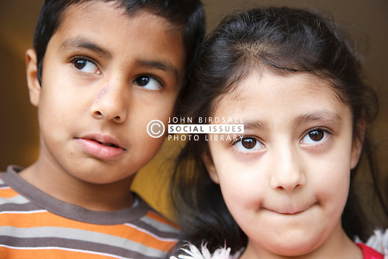 Portrait of asian boy and girl looking thoughtful