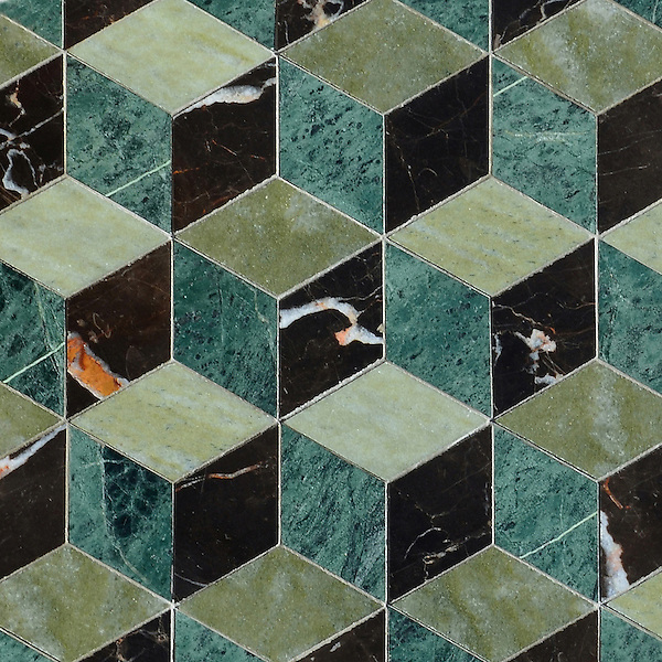 Euclid, a hand-cut mosaic shown in polished Verde Luna, Spring Green, and Saint Laurent, is part of the Illusions™ Collection by Sara Baldwin Designs for New Ravenna.