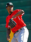 2 July 2011: Tri-City ValleyCats pitcher Euris Quezada tosses in the bullpen prior to a game against the Vermont Lake Monsters at Centennial Field in Burlington, Vermont. The Monsters rallied from a 4-2 deficit to defeat the ValletCats 7-4 in NY Penn League action. Mandatory Credit: Ed Wolfstein Photo