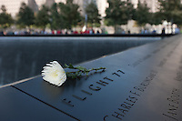 A flower rests by the names of those on Flight 77, memorialized on the South Pool at the National 9/11 Memorial in New York City.
