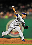 23 April 2010: Los Angeles Dodgers' relief pitcher Ramon Ortiz in action against the Washington Nationals at Nationals Park in Washington, DC. The Nationals defeated the Dodgers 5-1 in the first game of their 3-game series. Mandatory Credit: Ed Wolfstein Photo