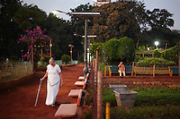 An old lady going for a morning walk in Hanging Gardens, Malabar Hills, in Mumbai