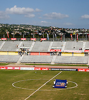 The CONCACAF 50th anniversary flag is setup at midfield at the stadium before the third place game of the CONCACAF Men's Under 17 Championship at Catherine Hall Stadium in Montego Bay, Jamaica. Panama defeated Jamaica, 1-0.