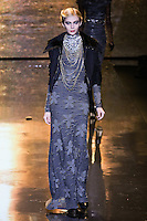 Yasminka Muratovich walks runway in an outfit from the Badgley Mischka Fall 2011 fashion show, during Mercedes-Benz Fashion Week Fall 2011.