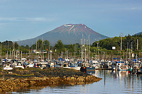 Mt. Edgecumbe and boat harbor, Sitka, Alaska