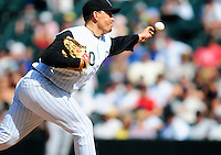 01 September 2008: Colorado Rockies pitcher Brian Fuentes delivers a pitch against the San Francisco Giants. The Rockies defeated the Giants 5-0 at Coors Field in Denver, Colorado. FOR EDITORIAL USE ONLY