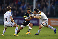Kyle Eastmond of Bath Rugby takes on the Exeter Chiefs defence. West Country Challenge Cup match, between Bath Rugby and Exeter Chiefs on October 10, 2015 at the Recreation Ground in Bath, England. Photo by: Patrick Khachfe / Onside Images
