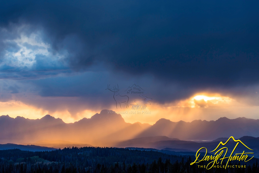Stormy Sunset, Grand Tetons from the Bridger Teton National Forest at Togwotee Pass. I was hoping for lightning; however, I wasn't disappointed.