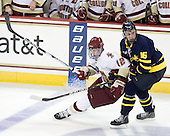 Kevin Hayes (BC - 12), Jesse Todd (Merrimack - 16) - The Boston College Eagles defeated the visiting Merrimack College Warriors 3-2 on Friday, October 29, 2010, at Conte Forum in Chestnut Hill, Massachusetts.