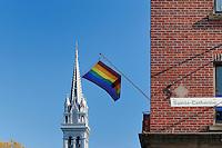 Canada, Montreal, The Village, Rainbow Flag and Église Sainte Brigide