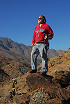 Man hiking in Indian Canyons near Palm Springs