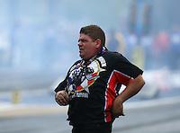Jun 18, 2016; Bristol, TN, USA; NHRA top fuel driver Terry Haddock during qualifying for the Thunder Valley Nationals at Bristol Dragway. Mandatory Credit: Mark J. Rebilas-USA TODAY Sports