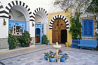 Tunisia, Sidi Bou Said.  Courtyard of Dar Annabi, a Private Home open for Public Viewing.  Originally constructed 18th. century, remodeled 20th. century.