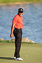 Tiger Woods (USA),.MARCH 25, 2012 - Golf :.Tiger Woods of United States shouts on the 18th green after winning the final round of the Arnold Palmer Invitational at Arnold Palmer's Bay Hill Club and Lodge in Orlando, Florida. (Photo by Thomas Anderson/AFLO)(JAPANESE NEWSPAPER OUT)