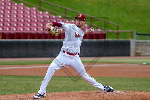 Wisconsin Timber Rattlers pitcher Jake Drossner (18) during a Midwest League game against the Burlington Bees on April 11th, 2017 at Fox Cities Stadium in Appleton, Wisconsin.  Wisconsin defeated Burlington 4-3. (Brad Krause/Krause Sports Photography)