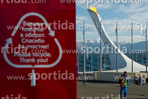 14.02.2014, Olympic Park, Adler, RUS, Sochi, 2014, Feature, im Bild Recycling tafel neben dem Olympischen Feuer // during the Olympic Winter Games Sochi 2014 at the Olympic Park in Adler, Russia on 2014/02/14. EXPA Pictures &copy; 2014, PhotoCredit: EXPA/ Freshfocus/ Urs Lindt<br /> <br /> *****ATTENTION - for AUT, SLO, CRO, SRB, BIH, MAZ only*****