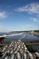 Fish drying in the sun on the town pier in La Libertad, El Salvador