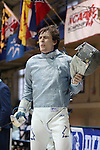 11 February 2017: Duke's Pascual Di Tella (ARG) reacts during his Saber match. The Duke University Blue Devils hosted the Boston College Eagles at Card Gym in Durham, North Carolina in a 2017 College Men's Fencing match. Duke won the dual match 18-9 overall, 9-0 Foil, and 6-3 Saber. Boston College won Epee 6-3.
