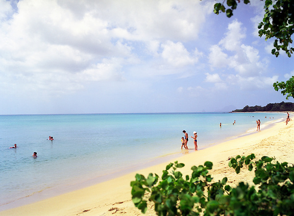 A view  of the Caribbean sea at Sainte-Anne Beach. The village of Sainte Anne is the southernmost village on Martinique. Sainte Anne, Martinique. Eastern Caribbean.