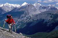 CANADA, ALBERTA, KANANASKIS, MAY 2002. A hiker walks on the Cloudburst pass. The Kananaskis Country provincial park is home to Canada's most beautiful nature and wildlife. It has also escaped the mass tourism as in Banff National Park. Photo by Frits Meyst/Adventure4ever.com
