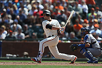 SAN FRANCISCO, CA - APRIL 27:  Buster Posey #28 of the San Francisco Giants bats against the Los Angeles Dodgers during the game at AT&T Park on Thursday, April 27, 2017 in San Francisco, California. (Photo by Brad Mangin)
