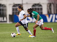 Sydney Leroux (2) of the USWNT sprints past Bianca Sierra (3) of Mexico during an international friendly at RFK Stadium in Washington, DC.  The USWNT defeated Mexico, 7-0.