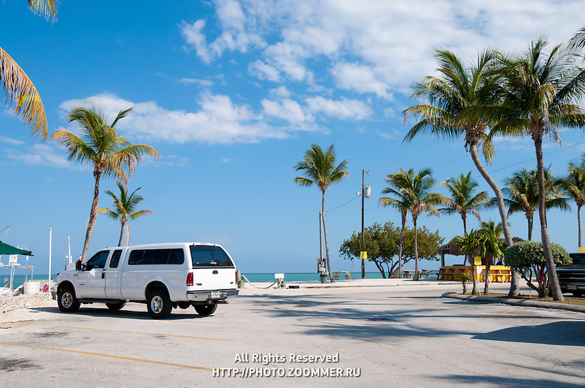 Parking lot of the Whale Harbor on Islamorada island Florida