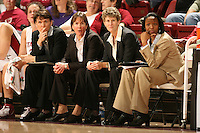 28 December 2006: Stanford Cardinal assistant coach Karen Middleton, head coach Tara VanDerveer, associate head coach Amy Tucker, and assistant coach Charmin Smith during Stanford's 86-58 win against the Arizona Wildcats at Maples Pavilion in Stanford, CA.