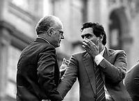Roma Giugno 1985..Manifestazione per i Referendum sul costo del lavoro..Nicola Signorello(Democrazia Cristiana) , Clemente  Mastella (Democrazia Cristiana).