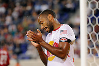 Thierry Henry (14) of the New York Red Bulls reacts to a missed scoring opportunity. The New York Red Bulls and the Chicago Fire played to a 2-2 tie during a Major League Soccer (MLS) match at Red Bull Arena in Harrison, NJ, on August 13, 2011.