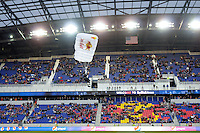 A parachutist lands on the field before the start of a Major League Soccer match between the New York Red Bulls and the Chicago Fire at Red Bull Arena in Harrison, NJ, on March 27, 2010. The Red Bulls defeated the Fire 1-0.