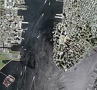 aerial map Lower Manhattan, New York City
