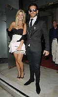 Francesca 'Cheska' Hull & Ollie Locke.The Prince Albert II of Monaco Olympians Reception, Old Burberry Building, Haymarket, London, England..August 9th, 2012.full length black suit sunglasses shades strapless dress white skirt clutch bag pink.CAP/CAN.©Can Nguyen/Capital Pictures.