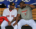 (Fort Myers, FL, 03/19/13) Boston Red Sox's Jackie Bradley, left, listens to advise from Boston Red Sox designated hitter David Ortiz prior to the start of a spring training baseball game against the Baltimore Orioles at JetBlue Park in Fort Myers, Florida on  Tuesday, March 19, 2013. Staff photo by Christopher Evans