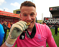 Lincoln City's Paul Farman with his Champions medal<br /> <br /> Photographer Andrew Vaughan/CameraSport<br /> <br /> Vanarama National League - Lincoln City v Macclesfield Town - Saturday 22nd April 2017 - Sincil Bank - Lincoln<br /> <br /> World Copyright &copy; 2017 CameraSport. All rights reserved. 43 Linden Ave. Countesthorpe. Leicester. England. LE8 5PG - Tel: +44 (0) 116 277 4147 - admin@camerasport.com - www.camerasport.com