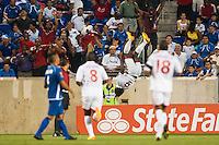 Trinidad and Tobago forward Kenwyne Jones (9) celebrates scoring during a CONCACAF Gold Cup group B match at Red Bull Arena in Harrison, NJ, on July 8, 2013.