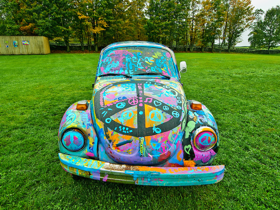 Volkswagen Peace Bug, Bethel Woods Center for the Arts, site of the 1969 Woodstock festival, Bethel, New York