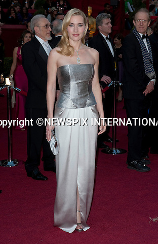 """KATE WINSLET AND HUSBAND SAM MENDES SPLIT.Kate Winslet has separated from her director husband Sam Mendes after nearly seven years of marriage..Kate and Sam are saddened to announce that they separated earlier this year,"""" confirmed lawyers for the Oscar-winning actress..The statement added: """"The split is entirely amicable and is by mutual agreement. Both parties are fully committed to the future joint parenting of their children."""".Winslet married Mendes, whose box office hits include American Beauty, in a secret ceremony in May 2003 on the island on Anguilla in the Caribbean. They have a son together, Joe Alfie Winslet Mendes who was born in New York on 22 December 2003..The pair began their relationship after Winslet split from director Jim Threapleton in 2001, with whom she had daughter, Mia Honey, 9..In her tearful Golden Globe speech last year she sobbed, working with her husband on Revolutionary Road had made her love him more...KATE WINSLET.OSCARS 2010 RED CARPET ARRIVALS_KATE WINSLET.The 82nd Academy Awards  arrivals took place under a transparent tent to keep the red carpet dry from the pending rain_ Kodak Theatre, Hollywood, Los Angeles_07/03/2009.Mandatory Photo Credit: ©Dias/Newspix International..**ALL FEES PAYABLE TO: """"NEWSPIX INTERNATIONAL""""**..PHOTO CREDIT MANDATORY!!: NEWSPIX INTERNATIONAL(Failure to credit will incur a surcharge of 100% of reproduction fees)..IMMEDIATE CONFIRMATION OF USAGE REQUIRED:.Newspix International, 31 Chinnery Hill, Bishop's Stortford, ENGLAND CM23 3PS.Tel:+441279 324672  ; Fax: +441279656877.Mobile:  0777568 1153.e-mail: info@newspixinternational.co.uk"""
