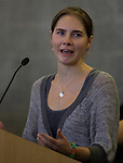 Amanda Knox speaks during a news conference held  at the Seattle-Tacoma International Airport near Seattle, Washington on October 4, 2011. Knox arrived in the United States after departing Rome's Leonardo da Vinci airport,. Knox's life turned around dramatically Monday when an Italian appeals court threw out her conviction in the sexual assault and fatal stabbing of her British roommate.  ©2011. Jim Bryant Photo. All Rights Reserved.