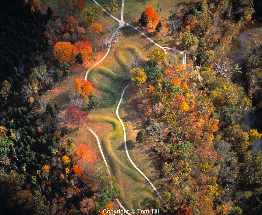 Serpent Mound Aerial View, Serpent Mound State Memorial, Ohio  Ancient Native America mound structure